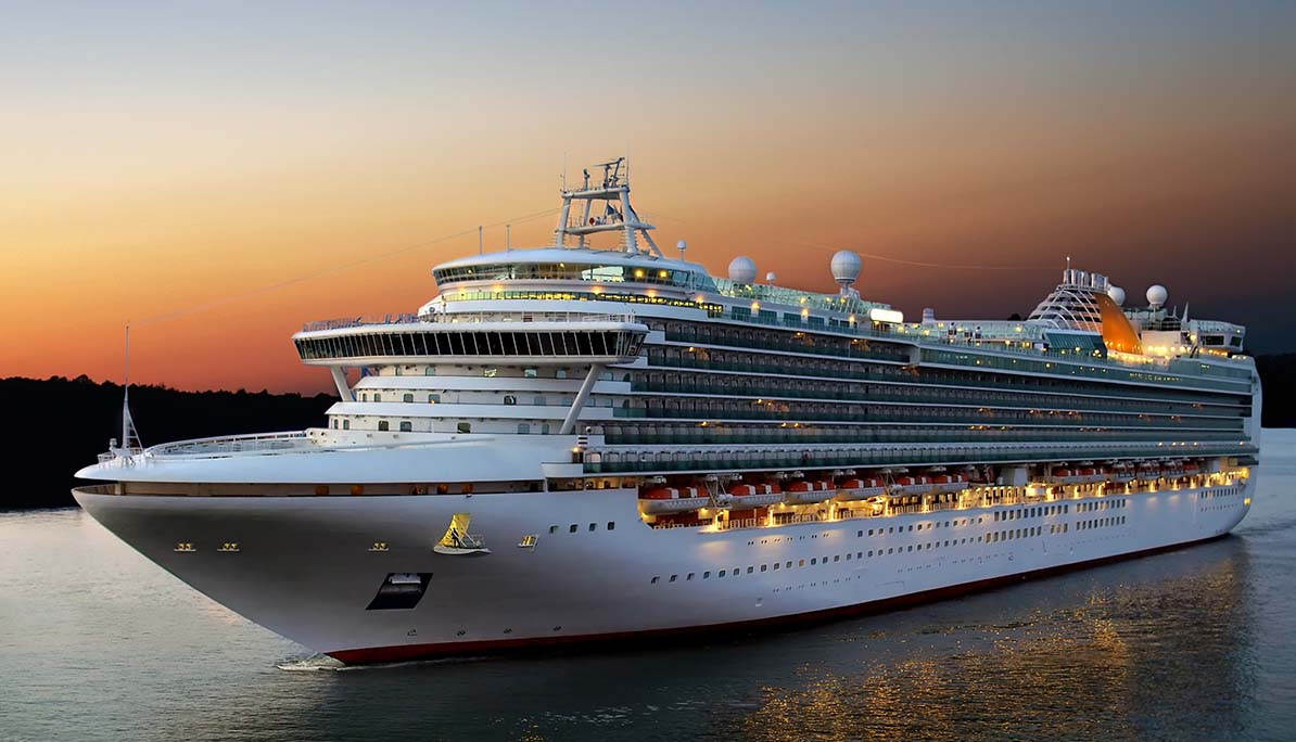 image - cruise ship at beautiful orange sunset cruising up river