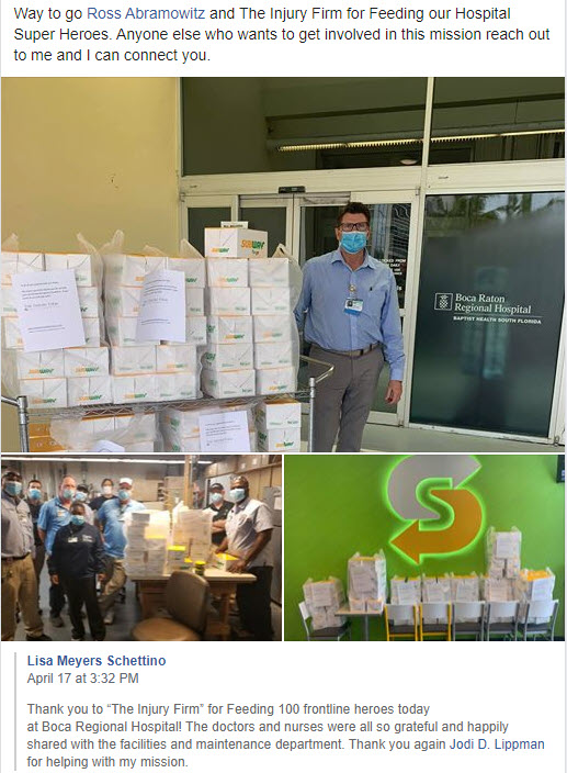 Boca regional hospital 100 meals for Corona-virus workers