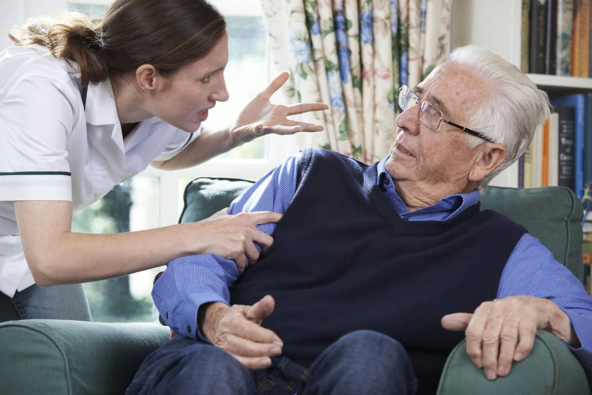 care worker yelling at senior in nursing home