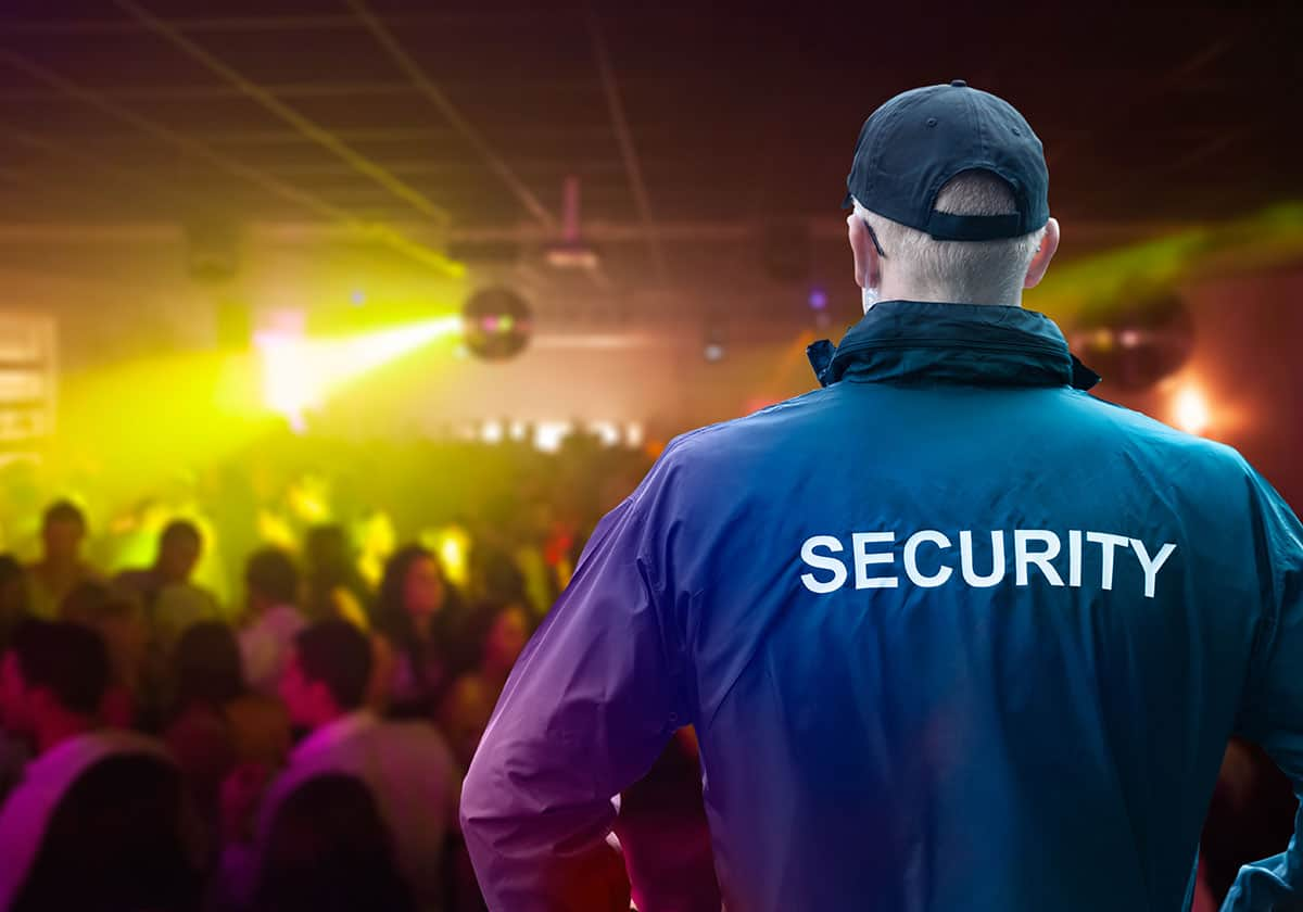 Male Security Officer Wearing Sewcurity Jacket at nightclub