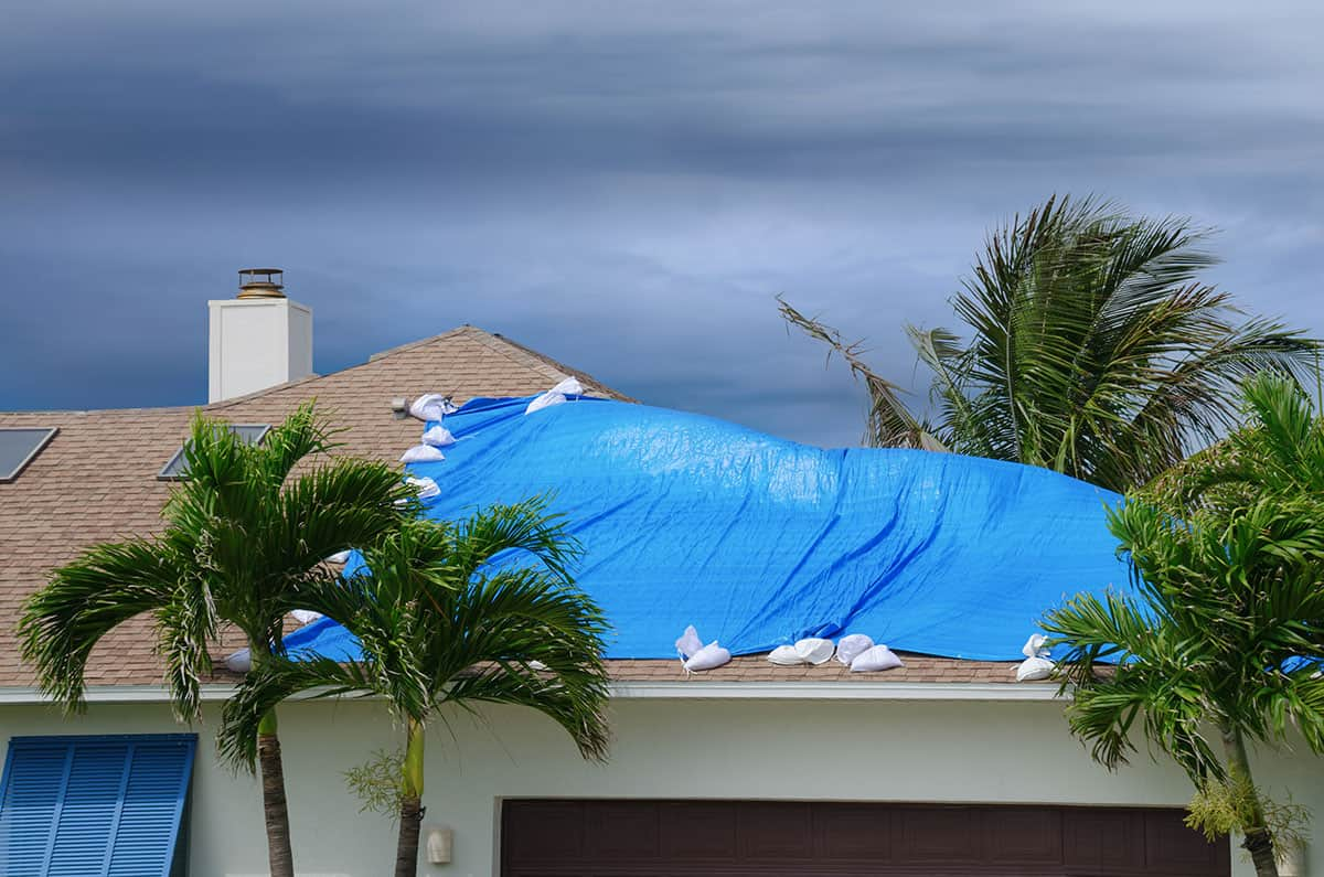 blue tarped roof hurricane damage
