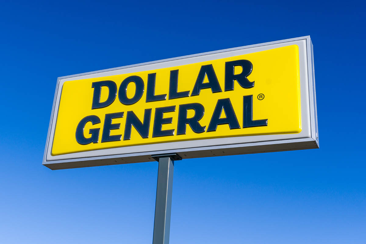 Dollar General Store Sign on Tall  Post