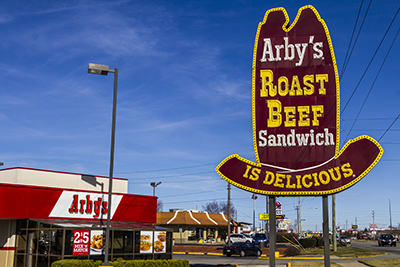 arbys restaurnat and sign